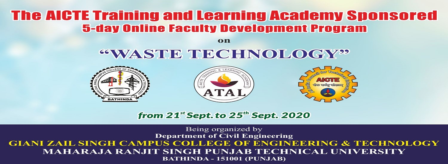 AICTE-ATAL FDP being organized on 21st - 25th Sept. 2020 by Civil Engineering Department, GZSCCET MR