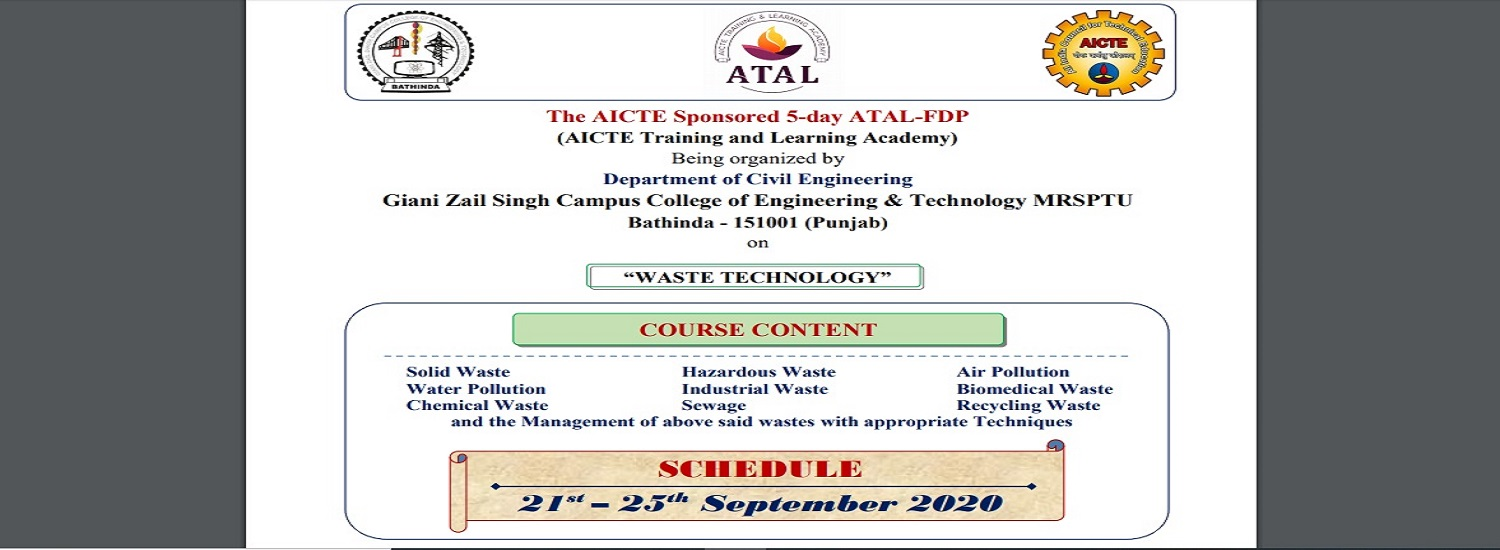 AICTE ATAL-FDP being organized on 21st - 25th Sept. 2020 by Civil Engineering Department, GZSCCET MR